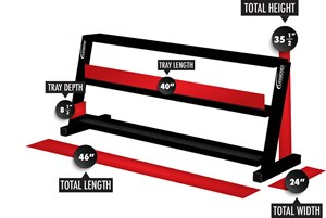 long three-tier kettlebell rack
